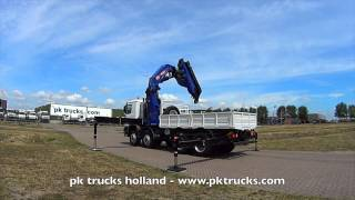 pktrucks Mercedes Actros 4150-AK 8x8 truck chassis with PM 100028 SP crane and flat-bed - NEW