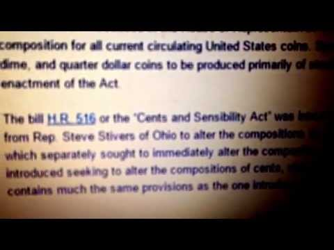 BILL submitted to Congress for 3x to make US coins Steel!!  CENTS & SENSBILITY ACT