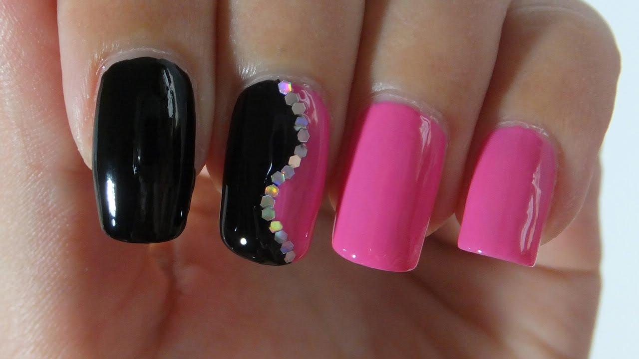 Easy Black And Pink Nail Design Nail Art Tutorial - YouTube
