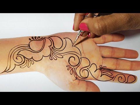 New Mehndi Trick - Easy Mehndi design One Sided  for Hands - किसी भी तीज त्यौहार के लिए मेहँदी लगाएं