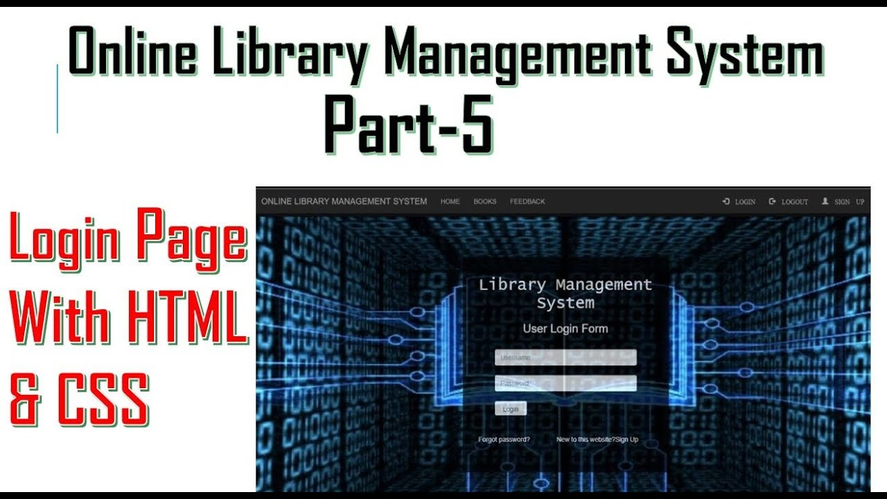 Library Management System Part 5 Make A Login Or Sign In Page With Html Css Youtube