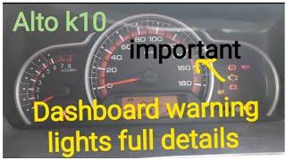 Alto k10 Instrument cluster details | full details of dashboard warning lights