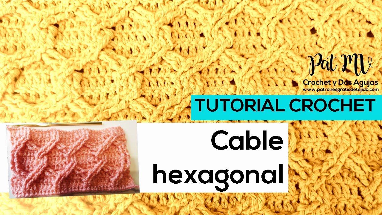 Cómo tejer PUNTO CABLE HEXAGONAL ✔️ Tutorial Crochet