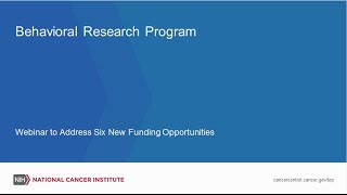 Webinar to Address Six New Funding Opportunities in Behavioral Research