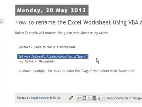 How to rename the excel worksheet using vba macro youtube how to rename the excel worksheet using vba macro ibookread PDF