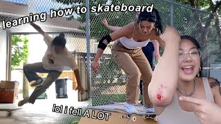 trying to learn how to skateboard in 2 weeks lol | girl skate progression