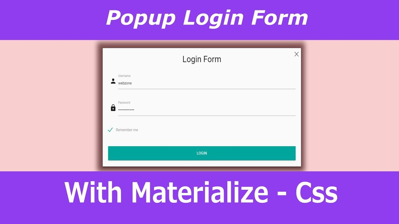 Popup login form using Materialize Css