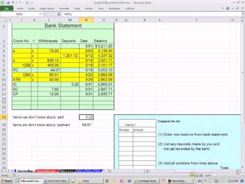 excel 2010 business math 42 bank reconciliation youtube