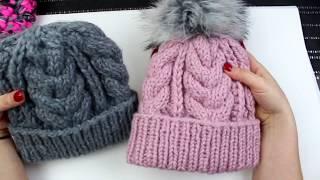 Gruba czapka z warkoczami,  na drutach. Jak zrobić.