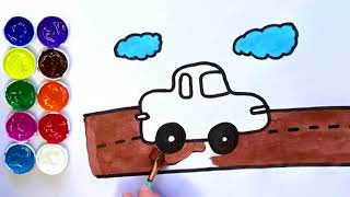 How to Draw a Car for Kids - Learn how to draw and paint - Litlle Friends 123