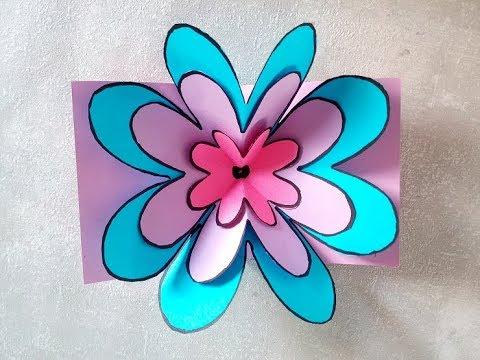 Pop Up Karte Muttertag.Blumen Pop Up Karte Basteln Diy Geschenk Zum Muttertag Vatertag Oder Geburtstag