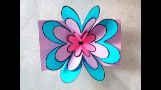 Blumen Pop-Up Karte basteln.  DIY Geschenk zum Muttertag, Vatertag oder Geburtstag