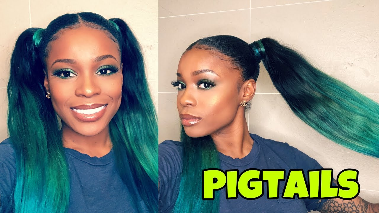 how to: slay two ponytails w/ weave | no glue - k collection hair