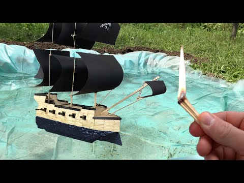 Pirate Ship From Matches-Match Chain Reaction Fire Domino