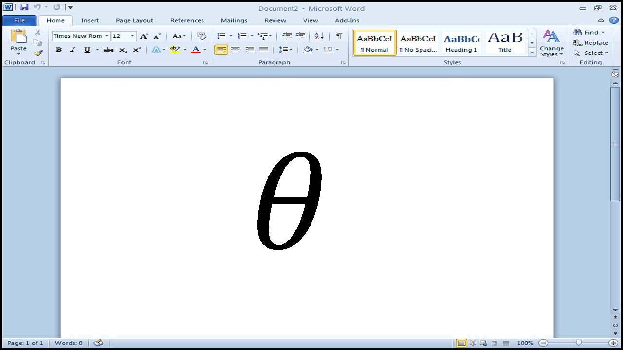 How To Type Theta Symbol In Microsoft Word Youtube