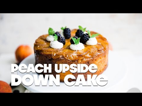 Peach Upside Down Cake Recipe With Homemade Whipped Cream