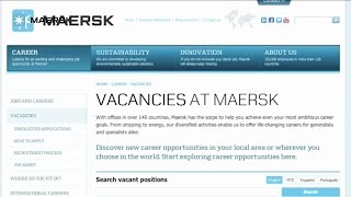 Applying for a job on the Maersk Careers Portal