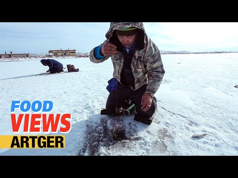 VIEWS: Ice Fishing In Mongolia Catch and Cook   Mongolian Fish Soup Recipe