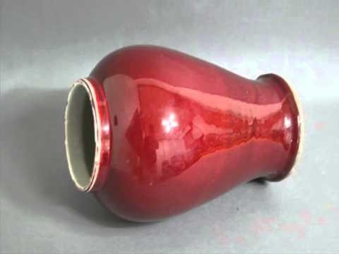 Antique Chinese Large white porcelain red glaze vase