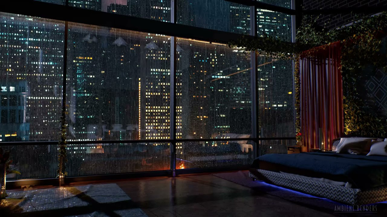 Download Luxury Chicago Apartment | Rain on Window Sounds For Sleeping | Bedroom Ambience | 8Hrs
