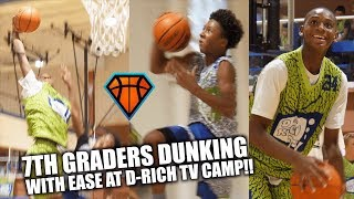 DUNKING 7TH GRADERS Elijah Fisher & Mikey Williams SHOW OUT at D-Rich TV Camp!! | Day 1 Highlights