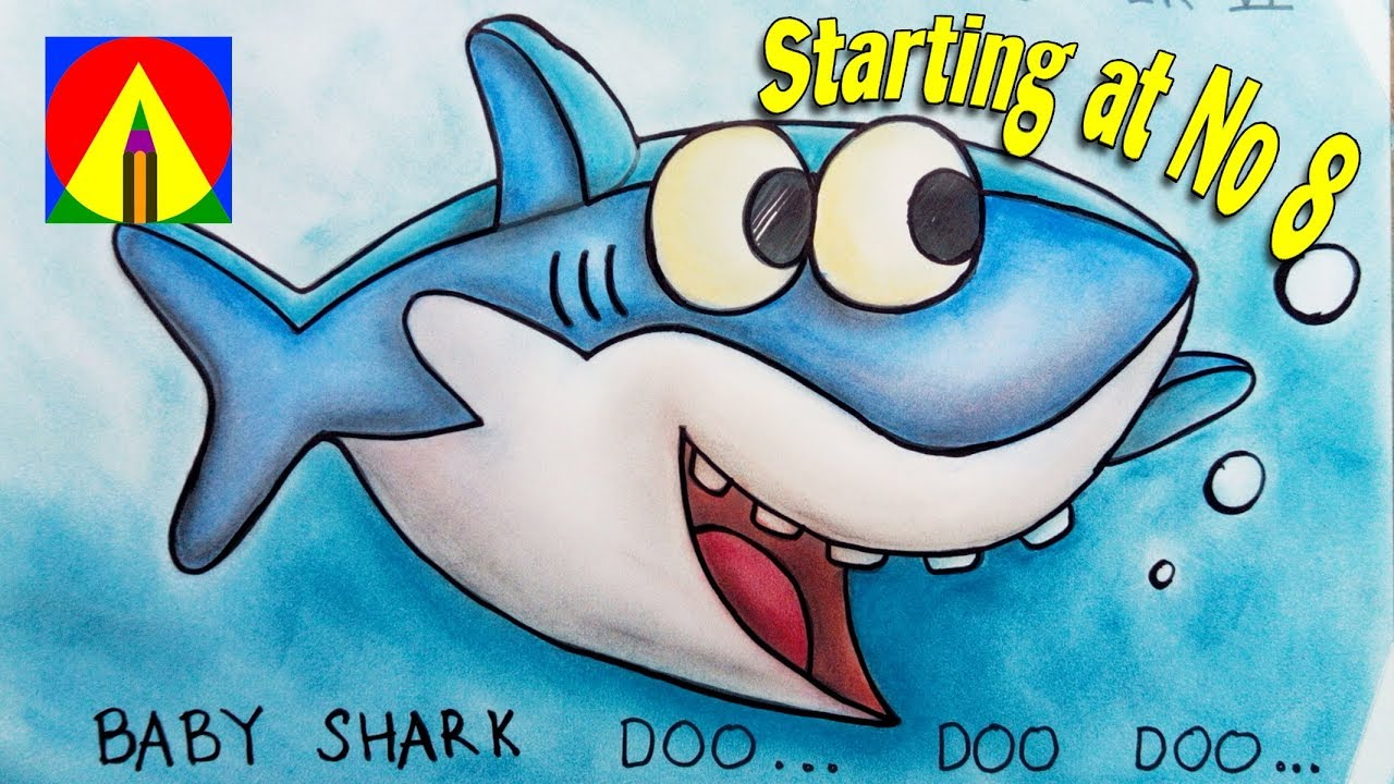 Baby Shark Song Drawing starting at Number 8 and Coloring Pages ...