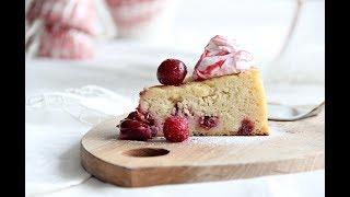 Cheesecake yumuşaklığında Bademli & Vişneli Kek Unsuz & Rafine Şekersiz