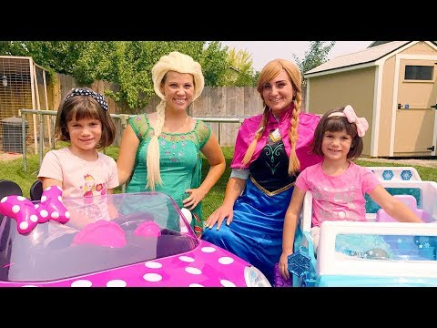 Frozen Elsa with Anna and Twins Kate & Lilly race their Minnie POWER WHEELS - Magic Play Time!