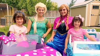 Frozen Elsa IRL!! with Anna, Twins Kate & Lilly Minnie POWER WHEELS KID GAMES - Magic Play Time!