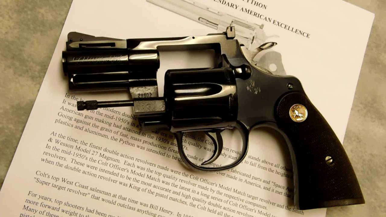 """1963 Colt Python  357 Magnum 2 ½"""" Stainless or Blue Snub Revolver  Mystery  of the first one"""