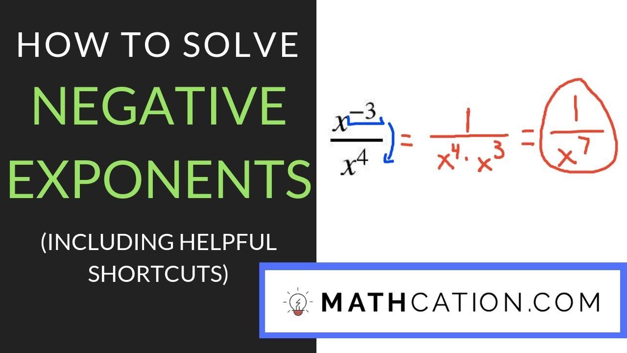 Negative Exponents Worksheet | Mathcation