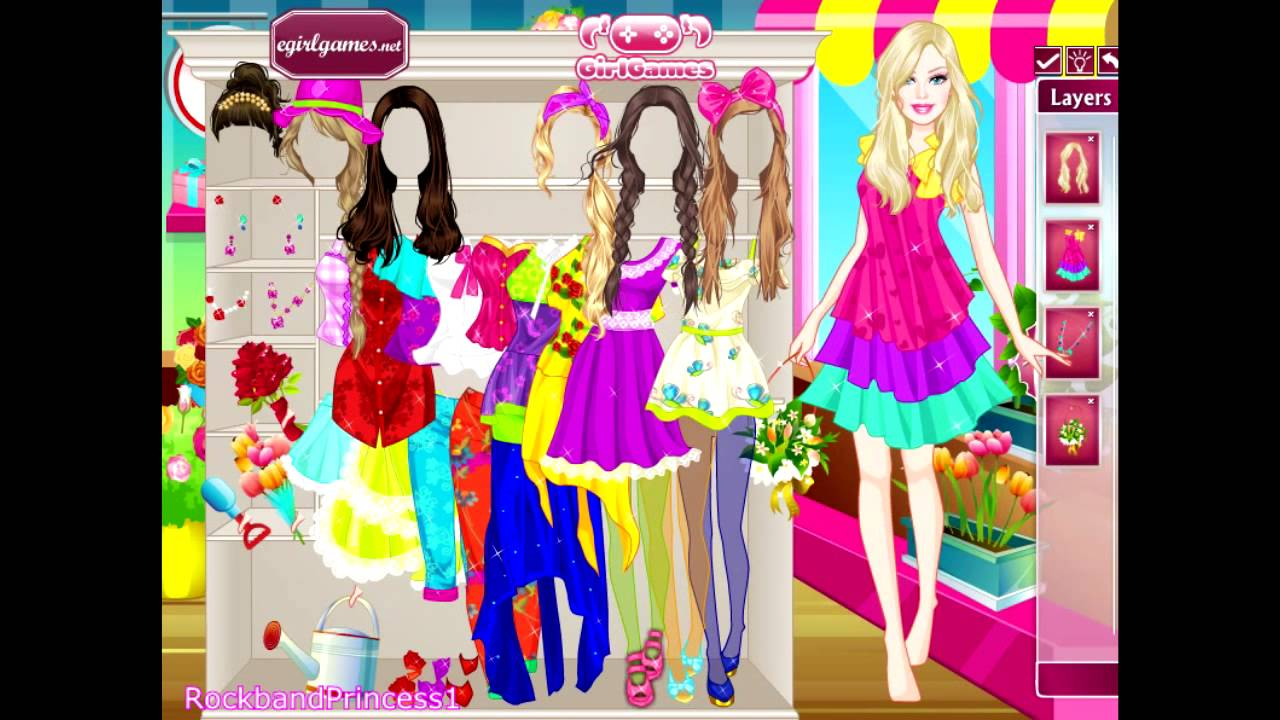 Barbie Games Barbie Flower Girl Dress Up Game Youtube