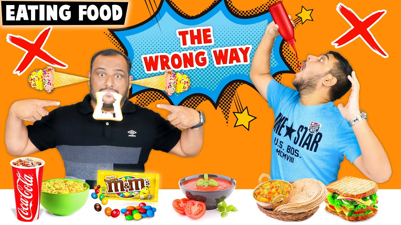 EATING FOOD THE WRONG WAY CHALLENGE | Food Eating Challenge | Viwa Food World