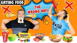 EATING FOOD THE WRONG WAY CHALLENGE   Food Eating Challenge   Viwa Food World