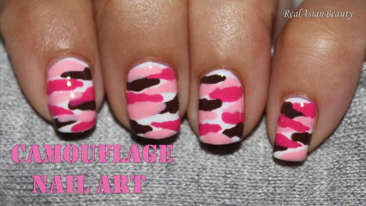 Cute Nail Art Wallpaper Pink Camouflage Nail Art Youtube
