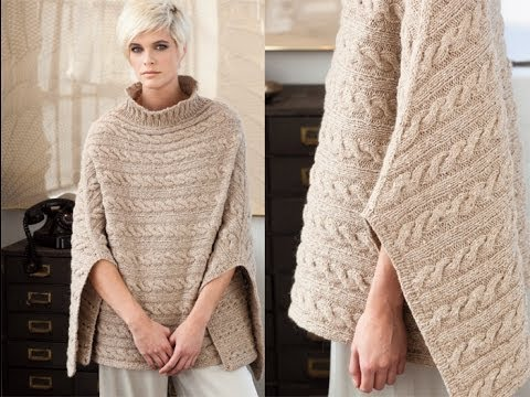 Vogue Knitting Patterns : Cabled Poncho, Vogue Knitting Winter 2011/12 - YouTube