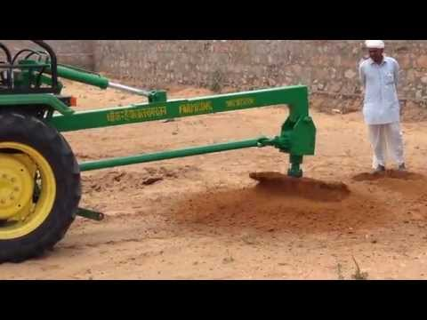 Pole Lifter  With Hydraulic Post Hole Digger For Tractor By FARMKING INDIA
