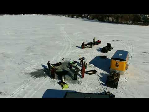 Dan's Drone of Ice Dive Start on Okauchee b4 the winds picked up.
