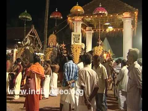 Musical ensemble at night at Sree Sundareswara temple, Kannur