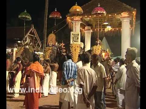 Musical ensemble at night at Sree Sundareswara temple, Kannur