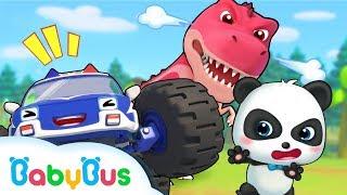 可怕的霸王龍要追上奇奇了!勇敢的怪獸車快去救救他 | 兒歌 | 童謠 | 動畫 | 卡通 | 寶寶巴士 | 奇奇 | 妙妙