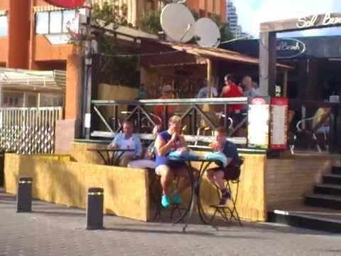 Benidorm 2013 New Series 6 Filming 3 Sol Beach Bar Tony MaudsleyKenneth and Adam Gillen Liam