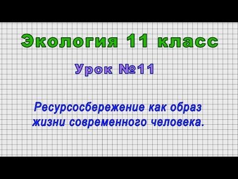 Экология 11 класс (Урок№11 - Ресурсосбережение как образ жизни современного человека.)