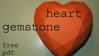 heart gemstone - low poly papercraft - free file - dutchpapergirl
