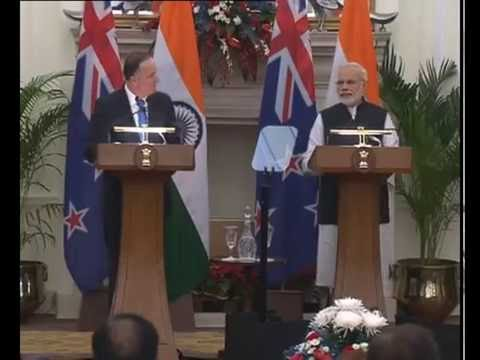 PM Modi & Prime Minister of New Zealand Mr John Key at Joint Press Statements, in New Delhi