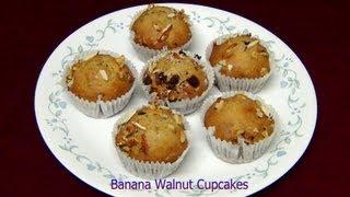 Eggless Banana Walnut Chocolate Cup Cake Recipe - Priyasrasoi.com