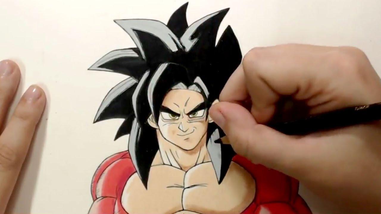 Desenhando Ao Vivo Goku Super Sayajin 4 Youtube