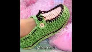 МК ВЯЗАНЫЕ ТАПОЧКИ. MK KNITTED SLIPPERS(Получи приз на канале - https://www.youtube.com/user/WorlTheGame?sub_confirmation=1 Как связать теплые носки крючком.How to tie a warm socks ..., 2014-05-08T08:58:24.000Z)
