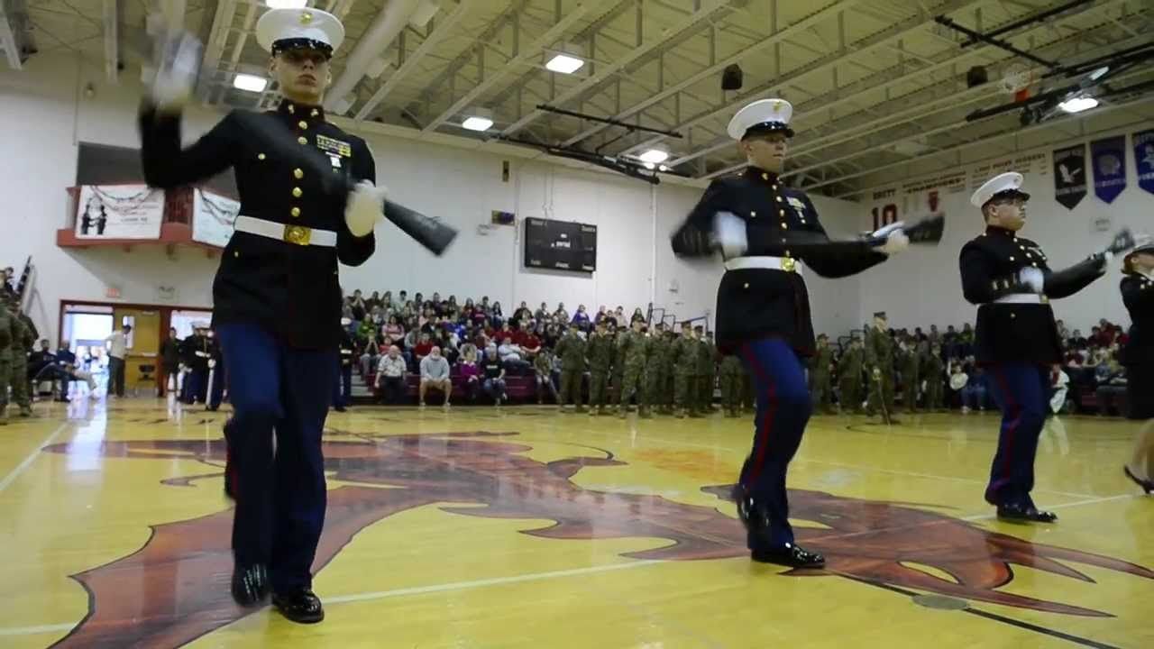jrotc marine corp drill team youtube