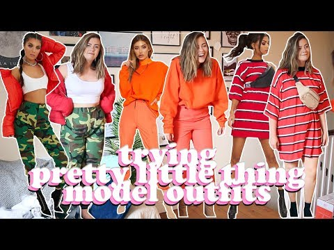AVERAGE GIRL TRIES PRETTY LITTLE THING MODEL OUTFITS  SIZE 14 STYLE SWAP  LUCY WOOD